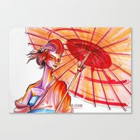 japanese Canvas Prints featuring Japanese by Cemile Demir Uzunoglu