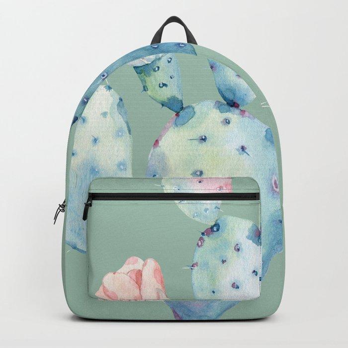 Rose Desert Cactus Mint Green Backpack