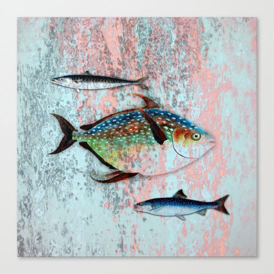 Into the Deep, Ocean Swimming Fish Canvas Print