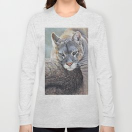 Just Chillin - Cougar Painting by Alan M Hunt Long Sleeve T-shirt