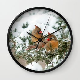 After the Snow Storm: Three Cardinals Wall Clock