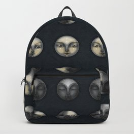 moon phases and textured darkness Backpack