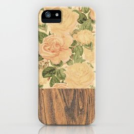 Wood & Floral I iPhone Case