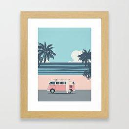 Surfer Graphic Beach Palm-Tree Camper-Van Art Framed Art Print