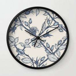 Blue Rose Hips Trellis Wall Clock