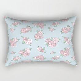 La Vie en Rose - Pink Blue Roses Pattern Rectangular Pillow