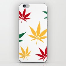 Rasta color leaves on white  iPhone & iPod Skin