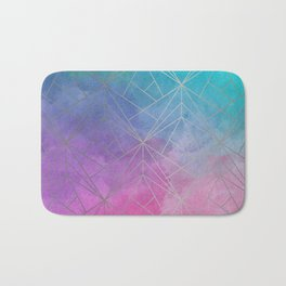 Watercolor Geometric Silver Pattern Art Bath Mat