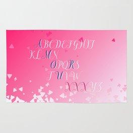 Amour Alphabet Love Rose Pink Glitter Design Rug