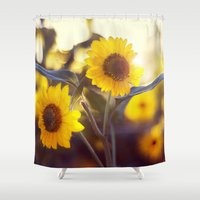sunflowers Shower Curtains featuring Sunflowers by elle moss