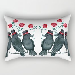 Ravens and Roses Red Rectangular Pillow