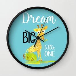 Dream Big Little One Watercolor Giraffe Nursery Quote Wall Clock
