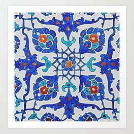 An Iznik polychrome tile, Turkey, circa 1585, by Adam Asar, No 26b Art Print