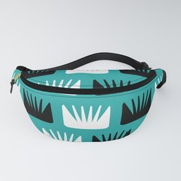 Mid Century Modern Abstract Flowers Teal Fanny Pack