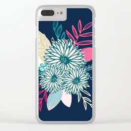Winter Flowers in Pink and Blue Clear iPhone Case