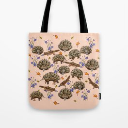 monotremes and wildflowers on apricot Tote Bag
