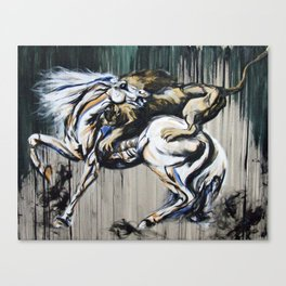 Lion and Horse - Tribute to Stubbs Canvas Print