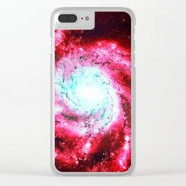 Spiral Galaxy Red Aqua Clear iPhone Case