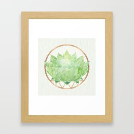 Watercolor Succulent with Metallic Gold Accents Framed Art Print