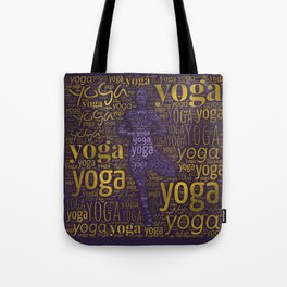 Yoga Pattern around Asana in Gold and Purple Tote Bag