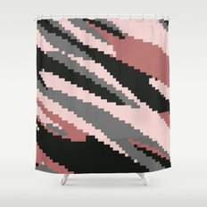 Pink Camo Ripple Shower Curtain