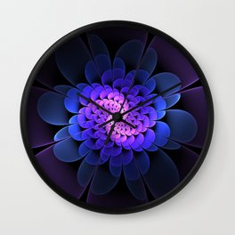 Spiraling Flower Fractal in Blue and Purple Wall Clock