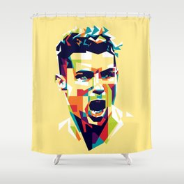 colorful illustration of ronaldo Shower Curtain