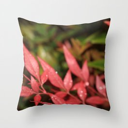 Dewy Red Leaves Throw Pillow