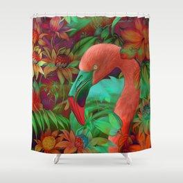 """""""Tropical Floral Retro Flamenco"""" Shower Curtain"""
