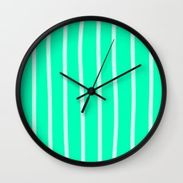 Mint Vertical Brush Strokes Wall Clock