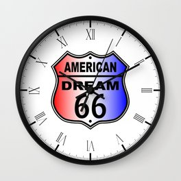 American Dream Route 66 Sign Wall Clock