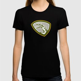 Stag Deer Retro Woodcut Shield  T-shirt