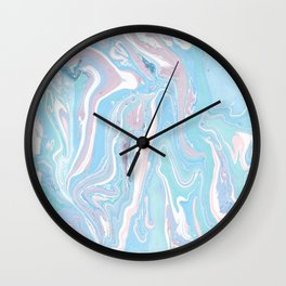 Blue aqua teal prim pink watercolor abstract marble Wall Clock