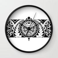 maori Wall Clocks featuring Maori by Raquel Gosalbez