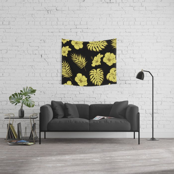 LEAVES AND FLOWERS Wall Tapestry