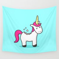 cookie Wall Tapestries featuring Unicorn Cookie by Sombras Blancas Art & Design