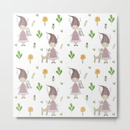 Woodland Nymph and her Doe Metal Print