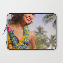"""Aloha"" - The Playful Pinup - Coconut Shell Bikini Pinup Girl by Maxwell H. Johnson Laptop Sleeve"