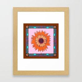 Western Style Chocolate Brown Pink-Orange Sunflower Art Framed Art Print