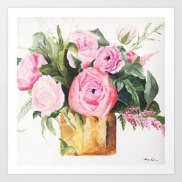 Heather's Arrangement Watercolor Painting Art Print