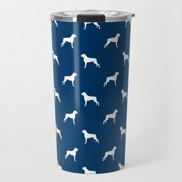Boxer dog breed pattern dog gifts navy and white minimal dog silhouette Travel Mug