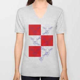 Heiliges Schaf, rote Wand Unisex V-Neck
