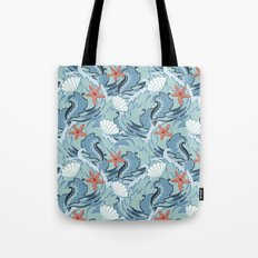 Sea ​​pattern with shells and starfish Tote Bag