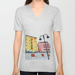 Colored buildings with street lamps Unisex V-Neck