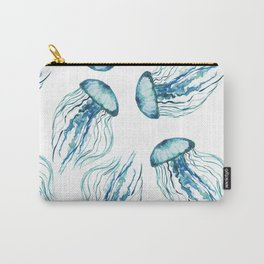Watercolor Aqua Jellyfish Carry-All Pouch