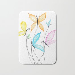 colorful flying butterflies Bath Mat