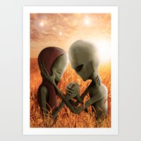 aliens Art Prints featuring Aliens by danielabbart