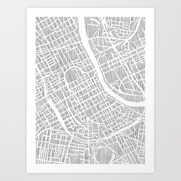 nashville map print Art Print