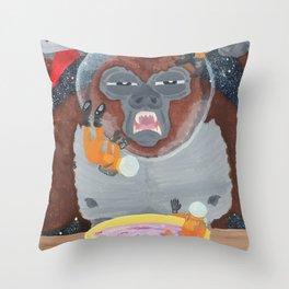 Gorilla in Space Throw Pillow
