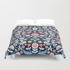 Happy Folk Summer Floral on Navy Duvet Cover